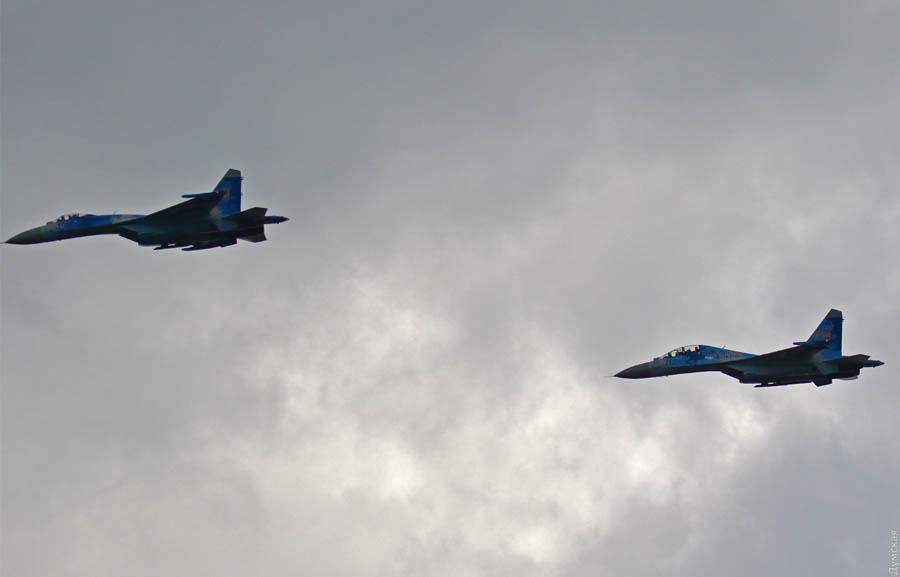Винищувачі Су-27 ПС ЗСУ під час випробувань комплексу РК-360МЦ
